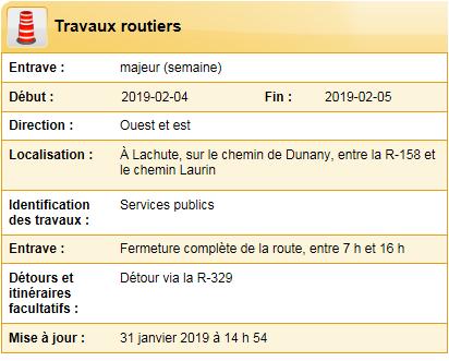 Info-Travaux MTQ 1er Fév 2019
